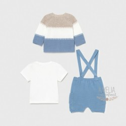 Conj. short knit denim